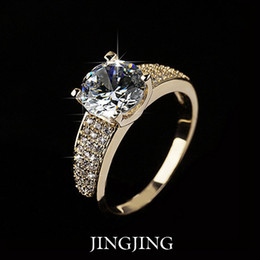 18K Gold Plated 2ct Round Cut Swiss Zirconia Diamond with micro CZ Setting Bridal Rings (Jingjing JR027A)