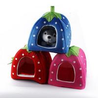 Wholesale Pet Strawberry Sponge House Bed Size Warm Cushion Cat Dog Lovely Basket Kennel Drop Shipping