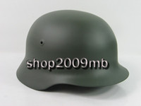 Wholesale Collectible WWII German M40 Steel Helmet Motorcycle Field Green Decals Gift Replica free drop shipping