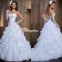 Top Selling ! Strapless A-line Ruffles Lace Corset Back Court Train Wedding Dresses Via Sposa Bridal Vestidos Free Shipping