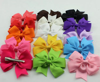 Wholesale New style Grosgrain Ribbon Hair Bow with Clip Girls Hair Bows Baby Infant flower Hair Clips colors for choose