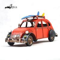 Cheap Vintage Metal Handmade Craft Red Station Wagon Car Mold with Skateboard Bar Decoration Artwork 1004a-3029