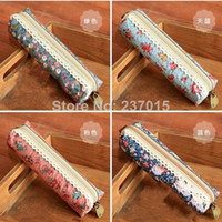 Cheap New Fashion Mini Retro Flower Floral Lace Pencil Shape Pen Case Cosmetic Makeup Make Up Bag Zipper Pouch Purse