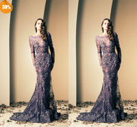 Cheap 2015 zuhair murad Mermaid Evening Gowns Luxurious Sexy Bateau Long Sleeve Lace Applique Ruffles Beaded Chapel Train Prom Evening Dresses