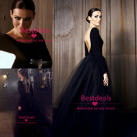black long sleeves backless evening dresses 2014 crew neck A...