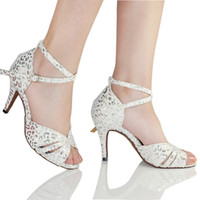 Wholesale 2014 New Latin dance shoes white red Adult female high heeled Salsa Samba Tango Ballroom dancing shoes