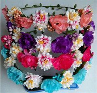 Wholesale NEW Dia cm quot Artificial Camellia Green Leaf Daisy Foam Fruit Wedding Bridal Bridesmaid Hair Accessories Floral Hoop Wreath