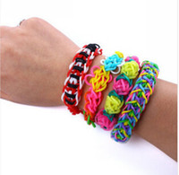 Wholesale 10x Rainbow Loom Kit Bands With S Clips Hook DIY Wrist Bands Rainbow Loom Bracelet for kids Colors