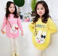 Cheap Children Baby Girls Tshirts Lovely Cute Cartoon Rabbit Letter Long Sleeve Terry T-Shirt Girl Kids Child Tees Tops Outwear Pink Yellow J1193