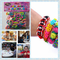 Wholesale 10x Assorted Colors Rainbow Loom Kit DIY Bands With S Hook Wrist Bands Bracelet for kids
