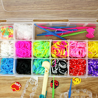 Cheap 4 box lot 2014 Mixed Rainbow loom kit clear plastic box for Kids DIY bracelets With 1200pcs Rubber Bands 200 S-Clips 10 Hook FXU031-99
