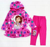 Cheap Wholesale - 2014 winter polar fleece polka dot sofia hoodies coats+leggings 2-piece set girls clothing kids outfits 2-4years C001