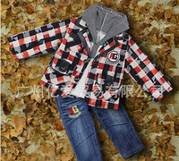 Cheap 2014 New Spring Infant Clothing Sets 3 PCS For Boys Grid Outfit And Hoodies And Jeans Pants Wholesale Clothes Sets CS30725-7