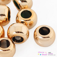 Wholesale Plastic Spacer Beads Round Gold Plated Smooth mmx10mm Hole Approx mm B29189