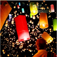 Cheap Cylinder Shape Fire Sky Chinese Lanterns Wishing Lanterns Paper Light Ship For Wedding Birthday Party Holiday 50pcs lot DHL Free Shipping