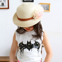 Wholesale Summer Fashion Baby Girl Cute Kid Sun Flower Straw Hat Children Beach Cap