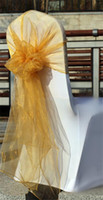 Wholesale 2014 High quality Cheap Colorful Cheap Hot sale Wedding Events Party Ribbons Buckles Gold Organza Chair Sash Bows