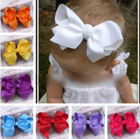 ribbon flowers - Kids Flower Hairpins Boutique Koearn Style Children Hair Accessories Barrettes Baby Girls Big Ribbon Bows With Clips SIZE CM J1196
