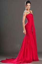 2019 Latest Style Cap Sleeve Red Evening Dresses Beaded Sequined Crystal Ruffles Court Train Mermaid Style Chiffon Formal Gowns
