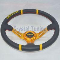 Wholesale 350mm MOMO Drifting PVC Steering Wheel Gold Frame quot MOMO Drifting Steering Wheel PVC Drifting Racing Rally Car Steering Wheel