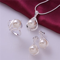 Wholesale 2014 new design silver plated pearl necklace earrings rings fashion jewelry sets wedding gift Top quality