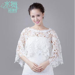 Wholesale 2014 Hot Sale White Lace Bridal Wraps Jackets Sleeveless Bridal Accessories Long Lace