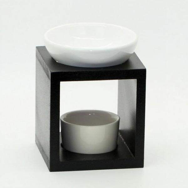 Ceramic Oil Burner ~ Classic wood aromatherapy oil burner with ceramic dish