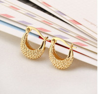 solid gold jewelry - Elegant Jewelry Delicate Tex Hoop Unique K Solid Yellow Gold Plated Earrings DH04