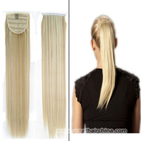 Wholesale 2017 Fashion European Ponytails grams Piece High Quality P613 Women Straight Wrap Around Ponytails Long Human Hair