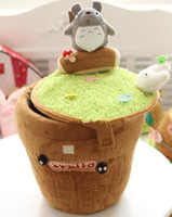 Wholesale Cute Plush Totoro Pattern Storage Box Barrel