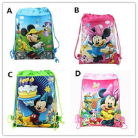 Wholesale Cartoon Miki Minnie Mouse Children s Gift Drawstring Bags Kids Lovely Students Study Nonwovens Bags Childs Good Quality Handbags H1211