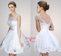 2014 White Pearl Lace A Line Tulle Wedding Dresses Jewel Sle...