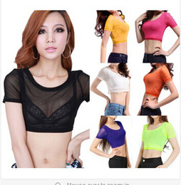 2014 New Sexy Colorful See Through Gauze Mesh Sheer Plain Stretchy Dance Disco Club Crop Top Blouse Shirt 11COLORS