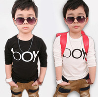 Wholesale New Fashion Children s Autumn outfit baby boy s cool style O neck Letter Tee Shirt long sleeved Cotton Black White Baby T shirt M1097
