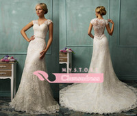 Wholesale 2015 New Arrival Elegant Lace Wedding Dresses with V Neck Sheer Lace Applique See Through Covered Buttom Back Sheath Wedding Dresses AS1276