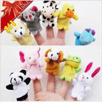 Wholesale Baby Plush Toy Finger Puppets Talking Props animal group Set S0285
