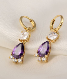 Wholesale Christmas Gift Womens Fashion Gemstone Jewelry K Yellow Gold Plated Crystal Drop Earrings DH04