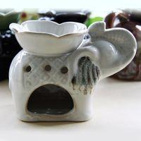 Wholesale Classic Flower Elephant Aromatherapy Oil Burner Furnace Scent Censer Creative Fragrance Lamps Craft SK088