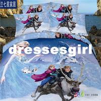 Cheap Romance snow princess cartoon girl beauty tip denim cotton quilt bedding linens 3D