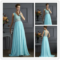 Sexy 2015 V- Neck Sleeveless Chiffon Lace Prom Gowns for Preg...