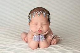 Wholesale Newborn Wristlet Headband Set Vintage Newborn Photo Prop Baby Blink Rhinestone Headband Infant Cute Hair Accessories