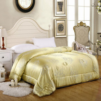 Wholesale New Silk Quilt Soft Tencel Cover Mulberry Silk Blanket KG Queen Size cm Yellow Color