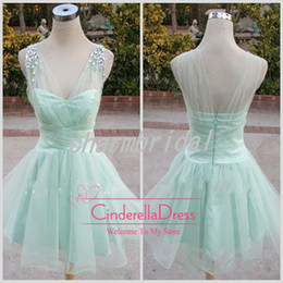 Wholesale 2014 mint bridesmaid dresses v neck a line tulle lime cocktail gowns cheap homecoming dress