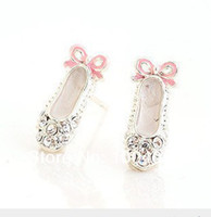 ballet gifts - a93 Christmas gift The new fashion cute smart drilling and ballet shoes full bow earrings