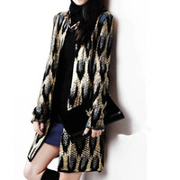 Wholesale 2014 New Leopard Animal Print Loose Cardigan Shawl Neck Sweater Long Sleeves Elegant Knitted Womens Jumper Cardigan Top FSF