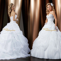 Wholesale Top Selling Strapless A line Ruffles Applique Corset Wedding Dresses Elegant Bridal Gowns Custom Made