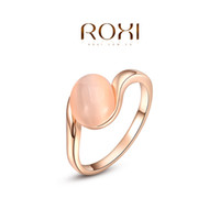 Cheap ROXI 2014 Free Shipping Gift Rose Gold Plated Romantic Ellipse Opal Ring Statement Rings Fashion Jewelry For Women Party Wedding