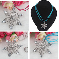Cheap Newest Snowflake Pendants Snowflakes Necklaces Ribbon Necklaces Ball Chain Necklaces Fashion Women Jewelry Decoration Free Shipping