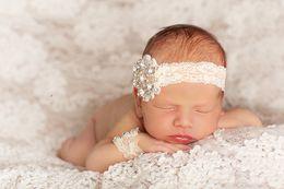 Wholesale Baby Newborn wristlet Headband Set Lace and Blink rhinestones Swarovski Cute Infant Headband