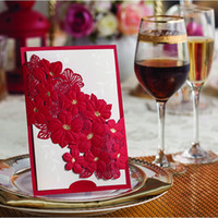 Cheap Red Elegant Flower Wedding Invitations 2014 Laser-cut Invitation Card with Envelope seal free personalized printing